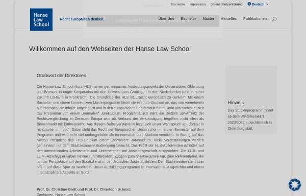 Vorschau von www.hanse-law-school.de, Hanse Law School Bachelor and Master of Comparative and European Law