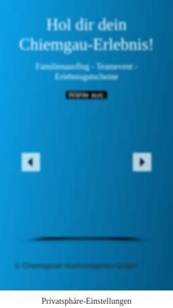 Vorschau der mobilen Webseite www.chiemgauer-hochseilgarten.de, Chiemgauer Hochseilgarten