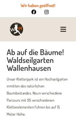 Vorschau der mobilen Webseite www.waldseilgarten-wallenhausen.de, Waldseilgarten Wallenhausen
