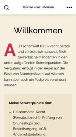 Vorschau der mobilen Webseite www.olnhausen.com, Von Olnhausen, Anwaltskanzlei