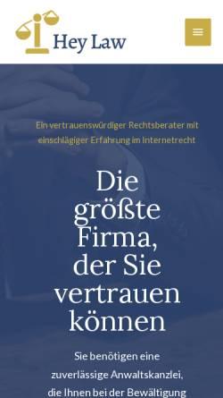 Vorschau der mobilen Webseite www.heylaw.de, Heymann & Partner, Rechtsanwälte