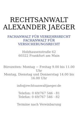 Vorschau der mobilen Webseite www.rechtsanwaltjaeger.de, Jaeger, Alexander, Rechtsanwalt