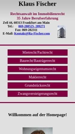 Vorschau der mobilen Webseite www.ra-fischer.com, Fischer, Klaus, Rechtsanwalt