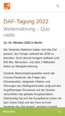 Vorschau der mobilen Webseite www.agrarforschung.de, Dachverband wissenschaftlicher Gesellschaften der Agrar-, Forst-, Ernährungs-, Veterinär- und Umweltforschung e.V.