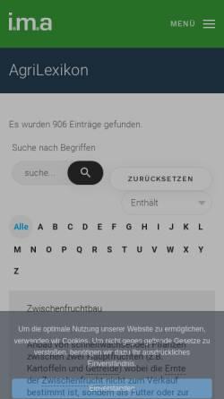 Vorschau der mobilen Webseite www.agrilexikon.de, i.m.a Agrilexikon
