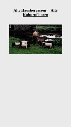 Vorschau der mobilen Webseite www.alte-haustierrassen.de, Portal für alte Haustierrassen und alte Kulturpflanzen
