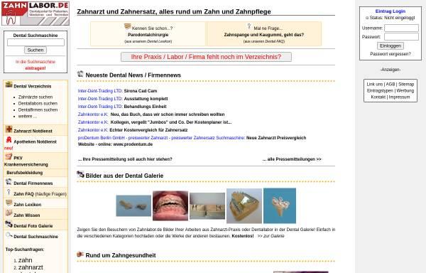 Vorschau von www.zahnlabor.de, Zahnlabor