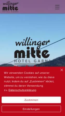 Vorschau der mobilen Webseite www.hotel-willinger-mitte.de, Hotel Willinger Mitte