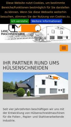 Vorschau der mobilen Webseite www.maschinenfabrik-lang.de, P.R. Lang Maschinenfabrik GmbH