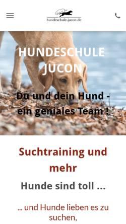 Vorschau der mobilen Webseite www.hundeschule-jucon.de, Hundeschule Jucon - Hundeerziehung mit Spass und Motivation