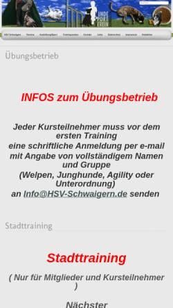 Vorschau der mobilen Webseite www.hsv-schwaigern.de, Hundesportverein Schwaigern