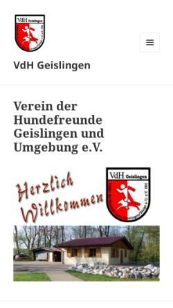 Vorschau der mobilen Webseite www.vdh-geislingen.de, Verein der Hundefreunde Geislingen/Stg. und Umgebung e.V.
