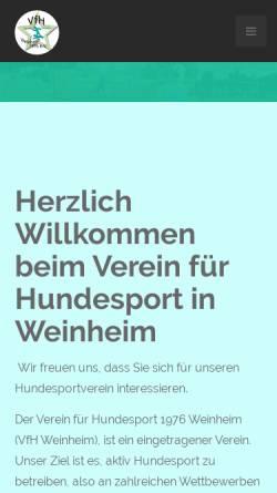 Vorschau der mobilen Webseite www.vfh-weinheim.de, Verein für Hundesport Weinheim 1976 e.V.