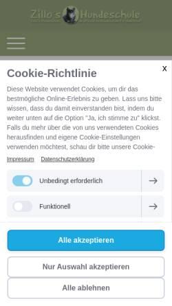 Vorschau der mobilen Webseite www.zillos-hundeschule.de, Zillos Hundeschule