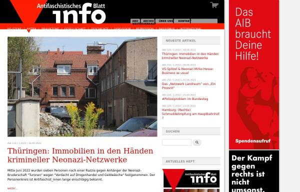 Vorschau von www.nadir.org, Antifaschistisches Info Blatt