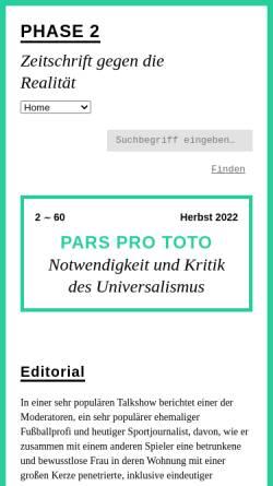 Vorschau der mobilen Webseite www.phase-zwei.org, Phase 2