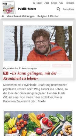 Vorschau der mobilen Webseite www.publik-forum.de, Publik-Forum