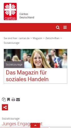 Vorschau der mobilen Webseite www.sozialcourage.caritas.de, Sozialcourage
