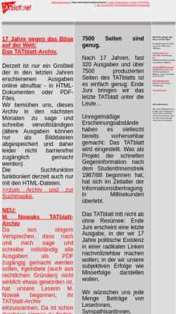 Vorschau der mobilen Webseite www.tatblatt.net, TATblatt