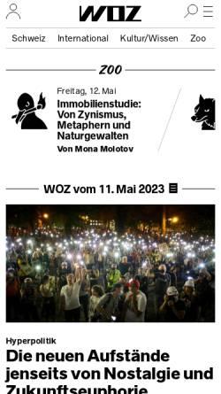 Vorschau der mobilen Webseite www.woz.ch, WochenZeitung - WoZ