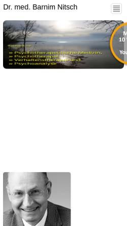 Vorschau der mobilen Webseite www.psychotherapie-dr-nitsch.de, Facharzt für Psychotherapeutische Medizin - Dr. Nitsch