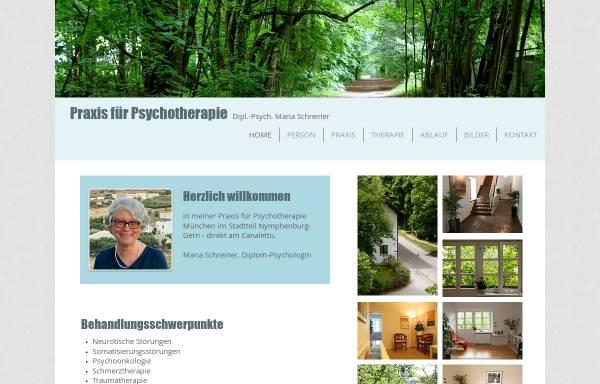 Vorschau von www.psychotherapie-schreiner.de, Verhaltenstherapie und Tiefenpsychologisch fundierte Psychotherapie - Dipl.-Psych. Maria Schreiner