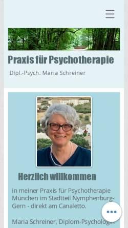 Vorschau der mobilen Webseite www.psychotherapie-schreiner.de, Verhaltenstherapie und Tiefenpsychologisch fundierte Psychotherapie - Dipl.-Psych. Maria Schreiner