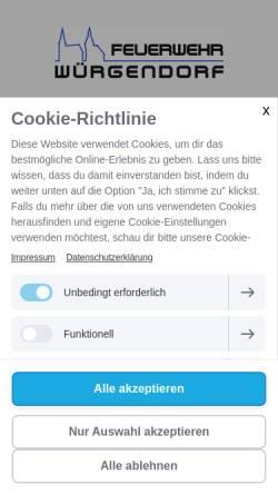 Vorschau der mobilen Webseite www.feuerwehr-wuergendorf.de, Freiwillige Feuerwehr Würgendorf