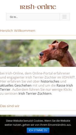 Vorschau der mobilen Webseite www.irish-online.de, Irish Terrier Gemeinschaft