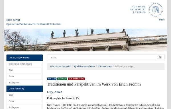 Vorschau von edoc.hu-berlin.de, Traditionen und Perspektiven im Werk von Erich Fromm - Dissertation von Alfred Lévy
