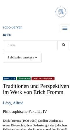 Vorschau der mobilen Webseite edoc.hu-berlin.de, Traditionen und Perspektiven im Werk von Erich Fromm - Dissertation von Alfred Lévy