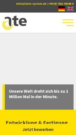 Vorschau der mobilen Webseite www.ate-system.de, ATE Antriebstechnik und Entwicklungs GmbH