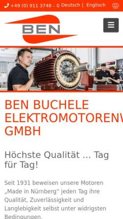 Vorschau der mobilen Webseite www.benbuchele.de, BEN Buchele Elektromotorenwerke GmbH
