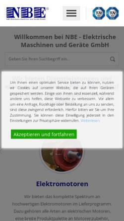 Vorschau der mobilen Webseite www.nbe-online.de, NBE Elektrische Maschinen und Geräte GmbH