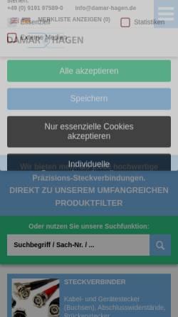 Vorschau der mobilen Webseite www.damar-hagen.de, Damar & Hagen Stecksysteme GmbH