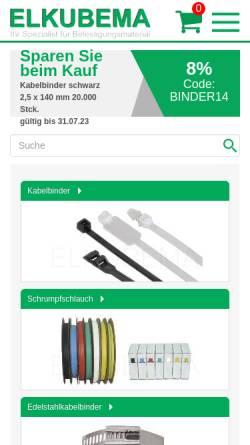 Vorschau der mobilen Webseite www.elkubema.de, Elkubema Vertriebs-GmbH