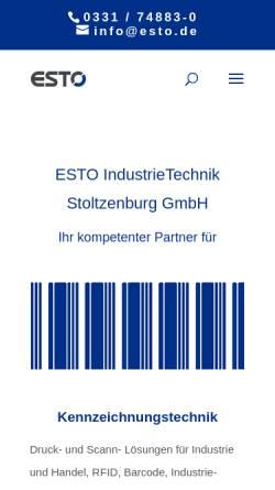 Vorschau der mobilen Webseite www.esto-gruppe.de, ESTO IndustrieTechnik Stoltzenburg GmbH