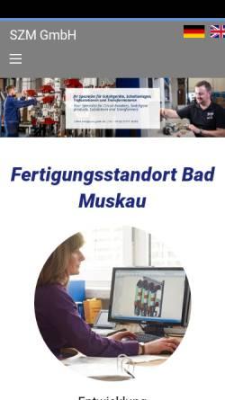 Vorschau der mobilen Webseite www.szm-gmbh.de, SZM SchaltanlagenZubehör Bad Muskau GmbH