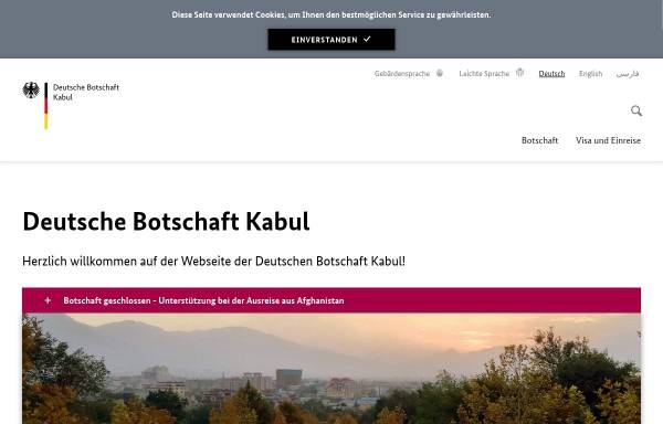 Vorschau von www.kabul.diplo.de, Deutsche Botschaft Kabul