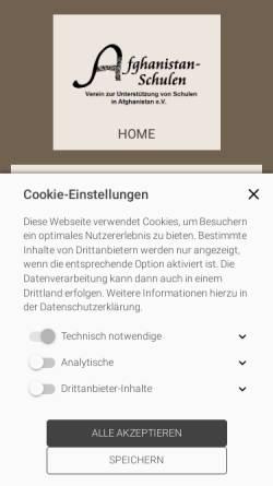 Vorschau der mobilen Webseite www.afghanistan-schulen.de, Verein zur Unterstützung von Schulen in Afghanistan e.V.