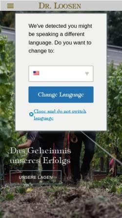 Vorschau der mobilen Webseite drloosen.com, Weingut Dr. Loosen