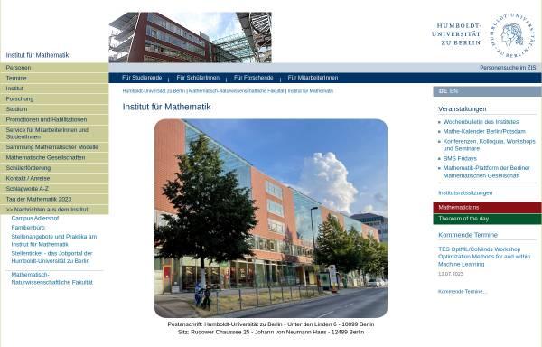 Vorschau von www.mathematik.hu-berlin.de, Institut für Mathematik der Humboldt-Universität zu Berlin
