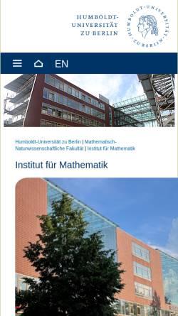 Vorschau der mobilen Webseite www.mathematik.hu-berlin.de, Institut für Mathematik der Humboldt-Universität zu Berlin