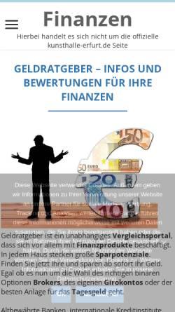 Vorschau der mobilen Webseite www.kunsthalle-erfurt.de, Kunsthalle Erfurt