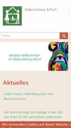 Vorschau der mobilen Webseite www.erfurter-geburtshaus.de, Geburtshaus Erfurt
