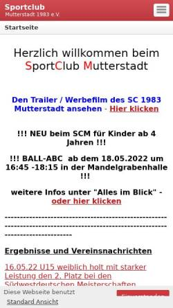 Vorschau der mobilen Webseite www.sc-mutterstadt.de, Sport Club 1983 Mutterstadt