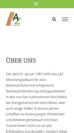 Vorschau der mobilen Webseite www.laz-online.de, Leichtathletikzentrum Mönchengladbach