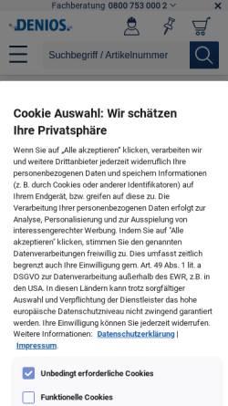 Vorschau der mobilen Webseite www.denios.de, Denios AG