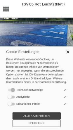 Vorschau der mobilen Webseite www.tsvrot-leichtathletik.de, TSV 05 Rot