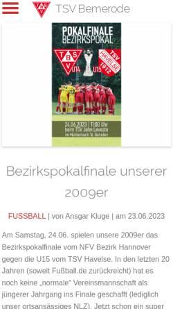 Vorschau der mobilen Webseite www.tsvbemerode.de, TSV Bemerode